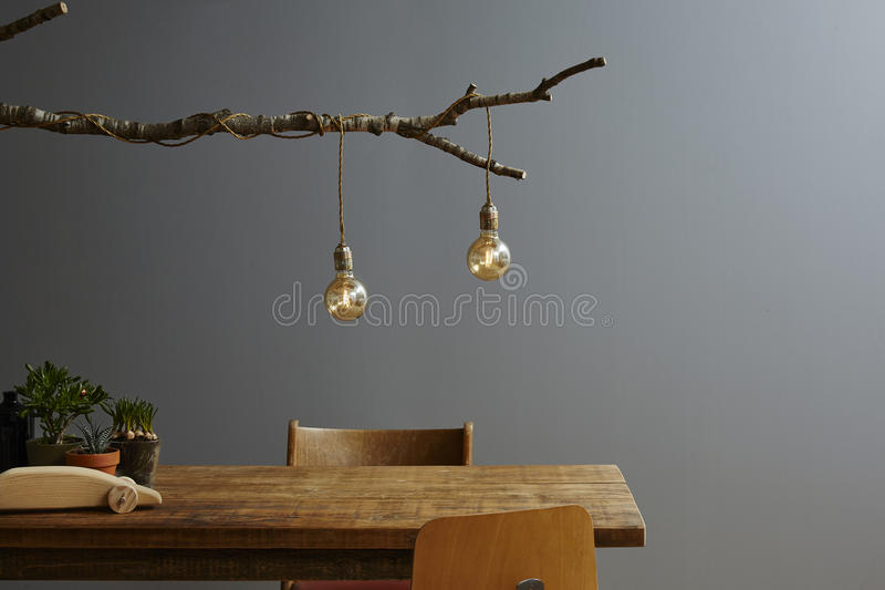 Urban lifestyle modern decoration tree lamp and bulbs. Creative birch branch lamp with cords and bulbs royalty free stock photography
