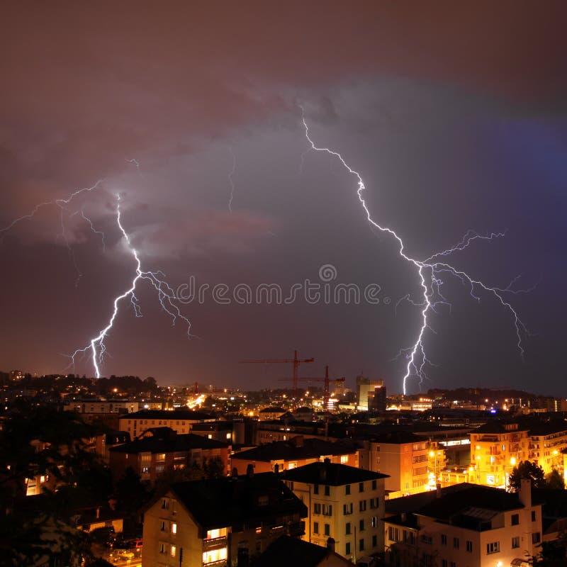 Urban lightning strike royalty free stock photography