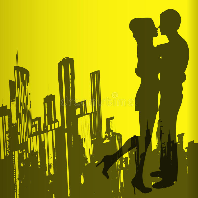 Urban Love. Background illustration with a loving couple over an urban skyline royalty free illustration
