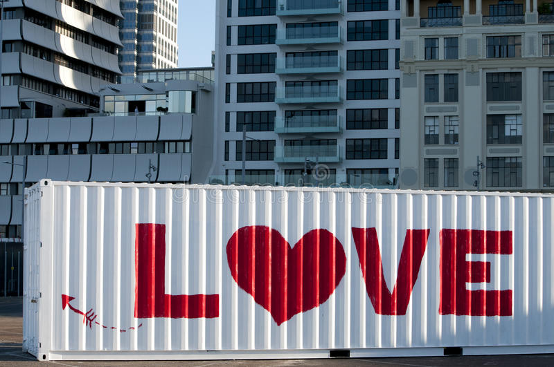 Urban love story on a container. In a big city stock photo