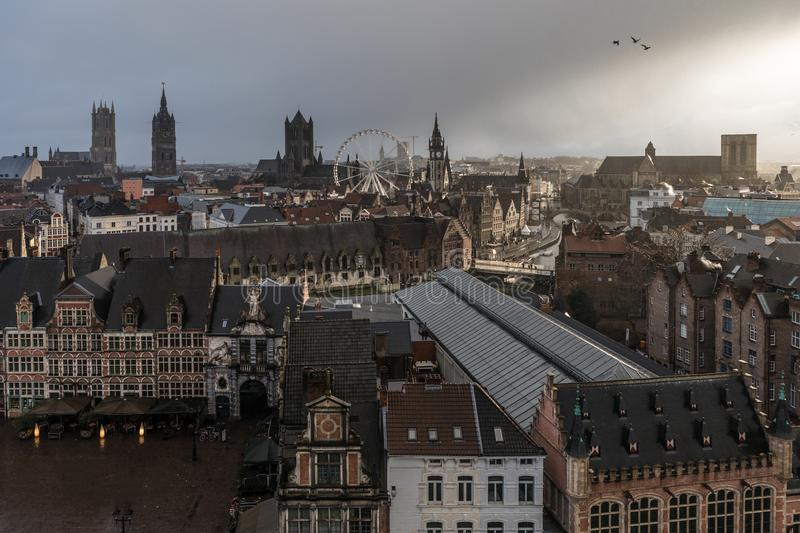The urban medieval looking skyline of Ghent, Belgium royalty free stock image