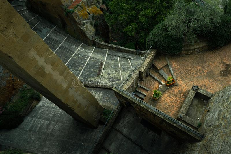 Urban medieval structure seen from above. Spectacular old architecture royalty free stock photos