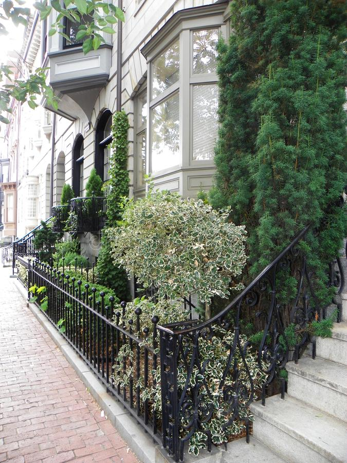 URBAN NATURE Beacon Hill street landscaping in Boston. Beautiful, tasteful, simplistic landscape design accentuates brownstone buildings throughout Boston Beacon royalty free stock photography