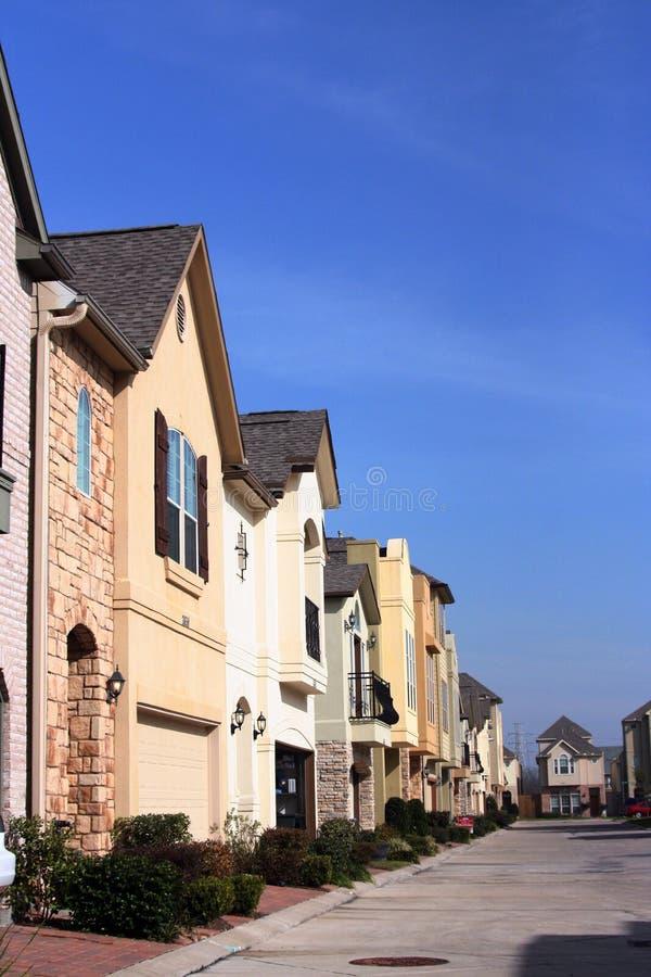 Urban Neighborhood. A urban neighborhood where the homes are close together stock photos