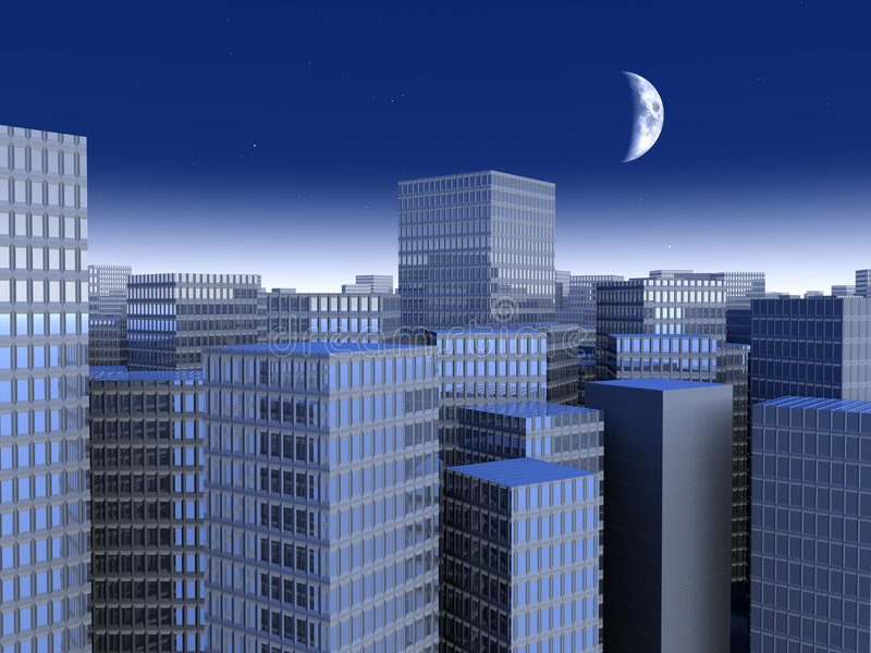 Urban Night. Symbolic render of an generic large City