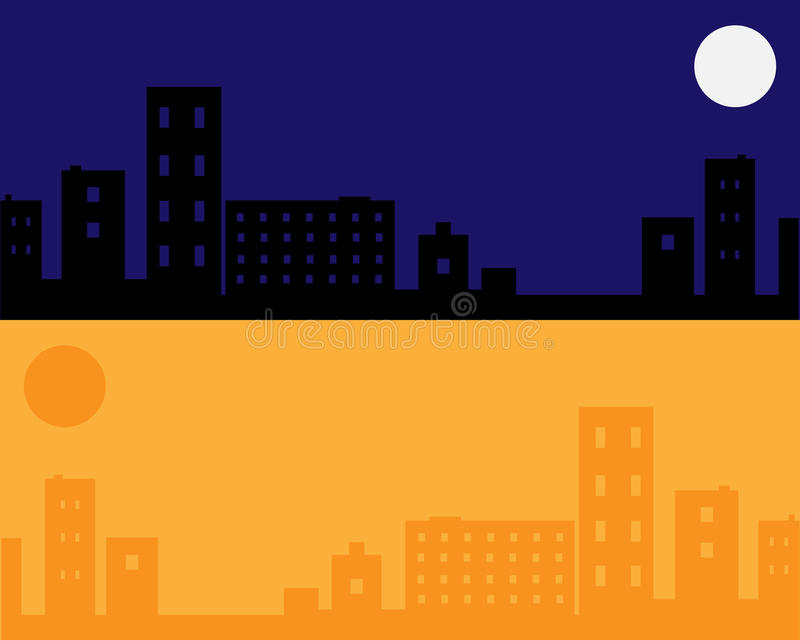 Urban night and day background - vector vector illustration