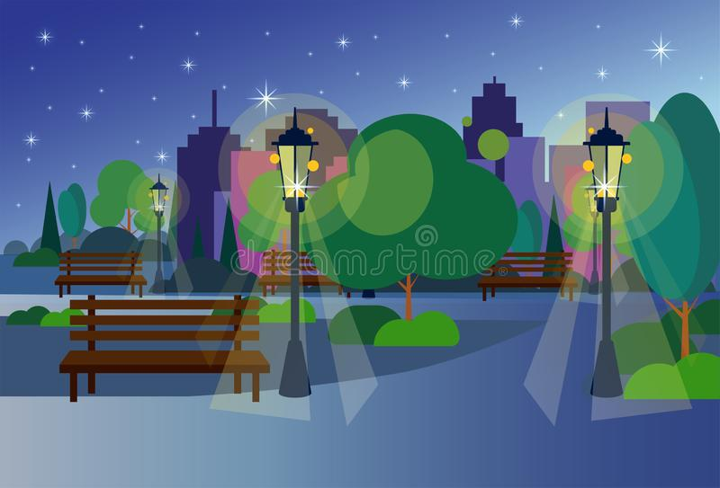 Urban night park wooden bench street lamp green lawn trees on city buildings template background flat. Vector illustration stock illustration