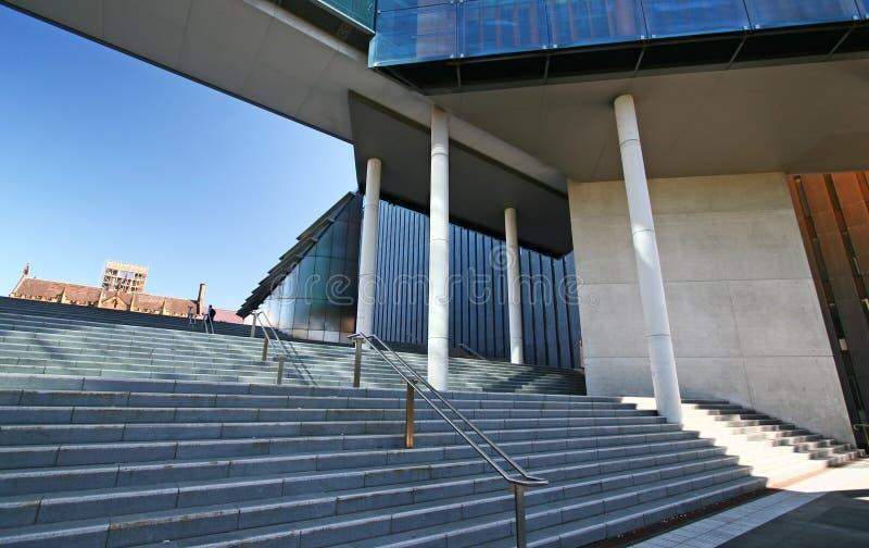 Urban outdoor grand staircase at University of Sydney Law School, Australia stock photo