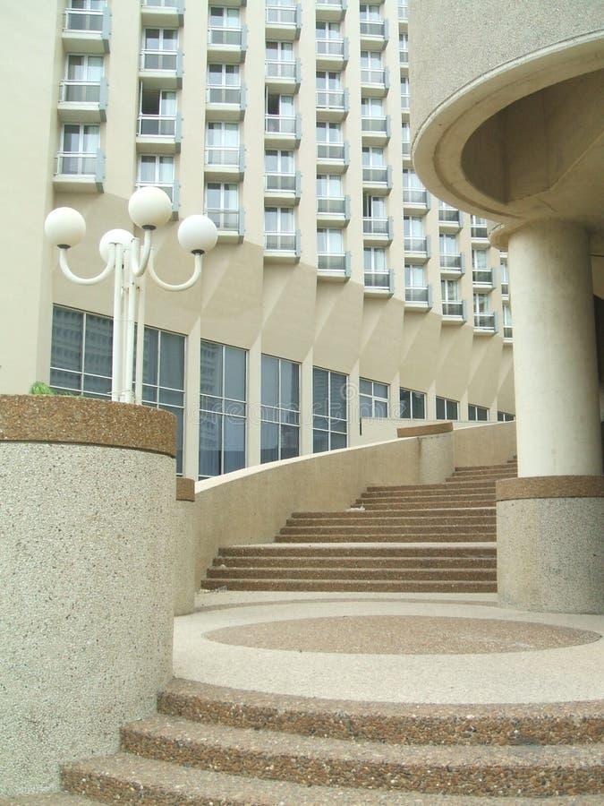 Urban outdoor view. stairway. street lamp. balconies. Outdoor urban view. Architecture of stairway and window balconies royalty free stock photo