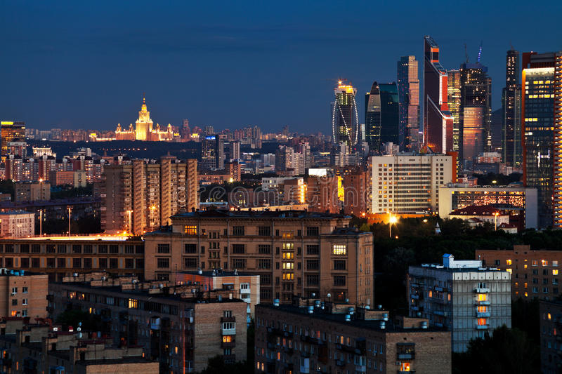 Urban Panorama In Blue Summer Night Royalty Free Stock Images