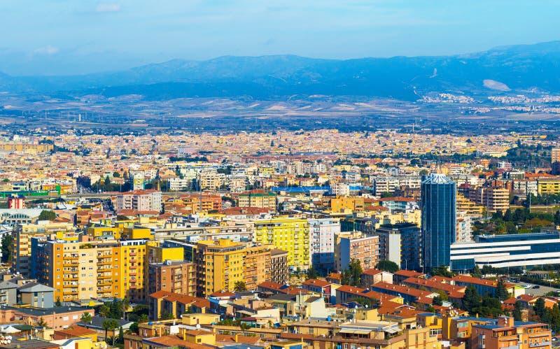 Urban panorama of Cagliari, aerial view of Sardinia`s capital, Italy royalty free stock photo