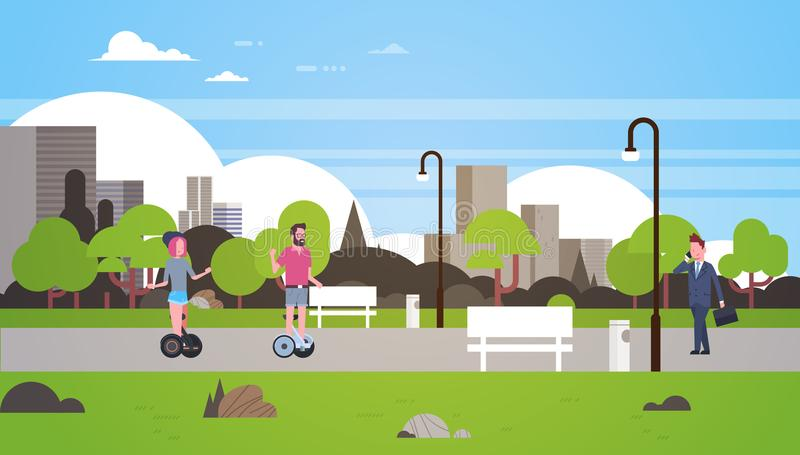Urban park outdoors business man woman riding gyroscooter walking city buildings street lamps cityscape concept vector illustration