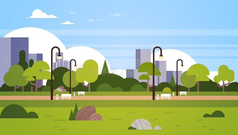 Urban park outdoors city buildings street lamps cityscape concept horizontal flat stock illustration