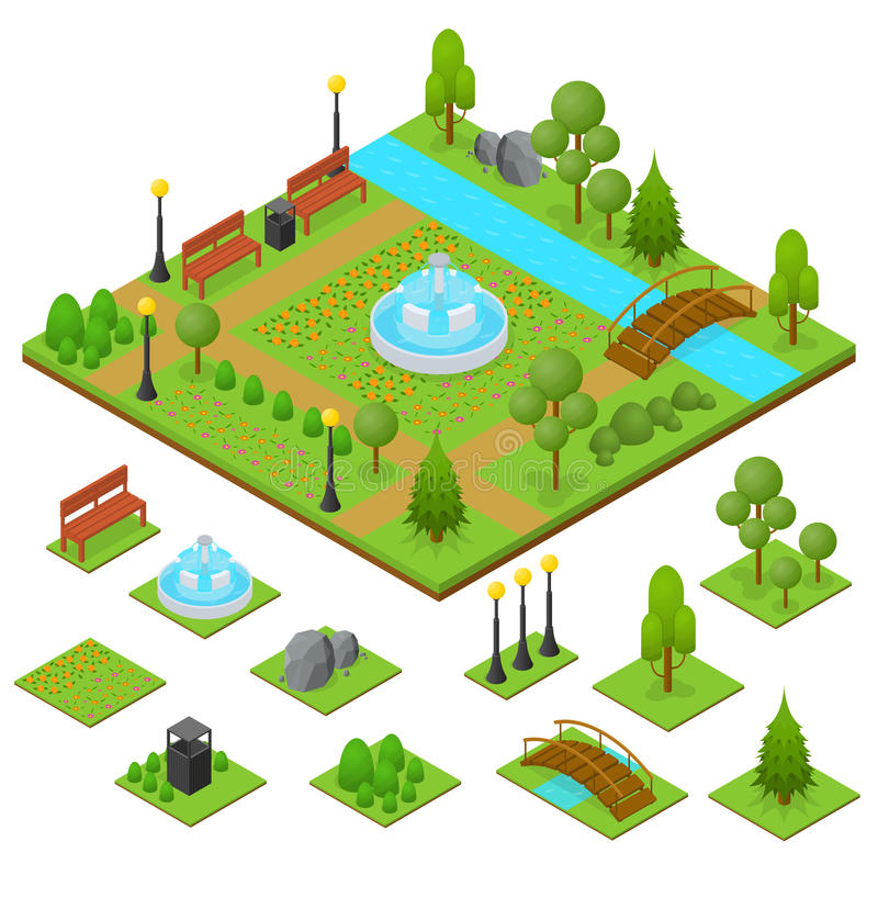 Urban Park and Part Set Isometric View. Vector stock illustration