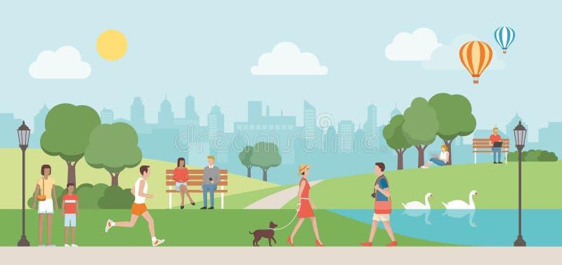 Urban park vector illustration