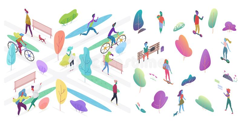 Urban park with people vector isometric illustration royalty free illustration