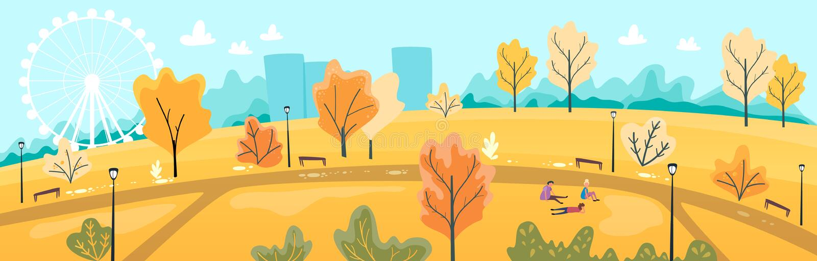 Urban park scenery with people. Autumn cityscape banner. Fall city design. Vector illustration, cartoon flat. Style royalty free illustration