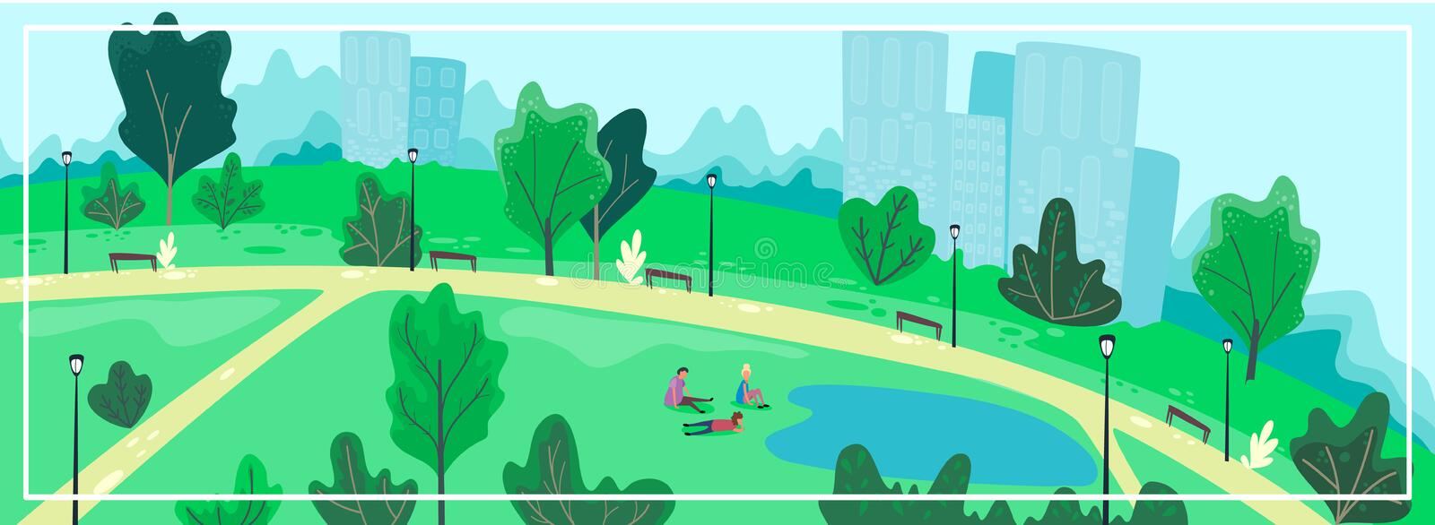Urban park scenery with people. Summer cityscape banner. Vector illustration, cartoon flat. Style royalty free illustration