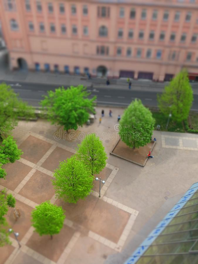Urban park with trees miniature effect royalty free stock images