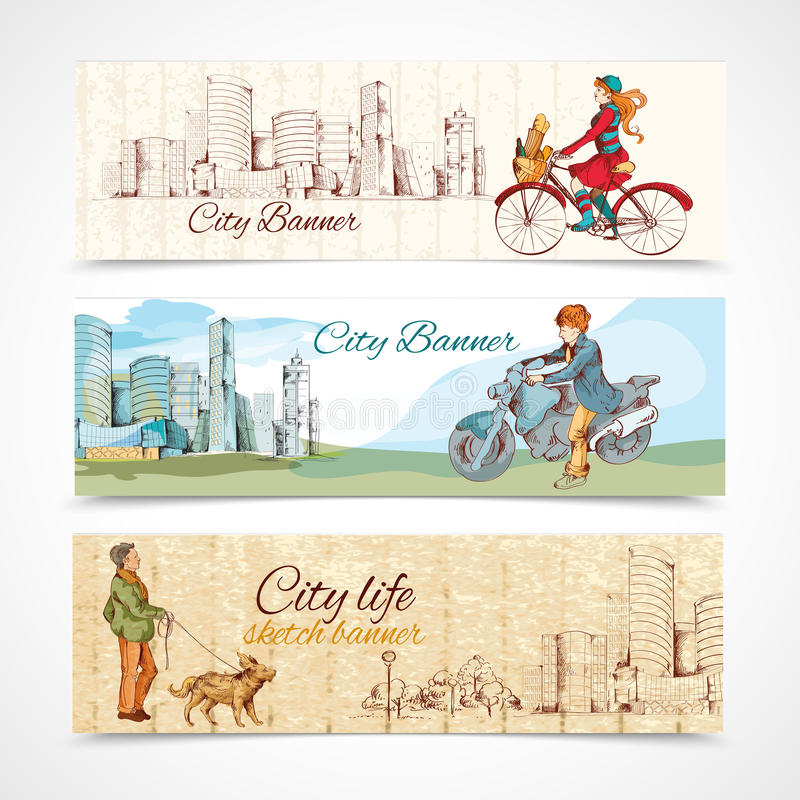 Urban people horizontal banners sketch colored royalty free illustration