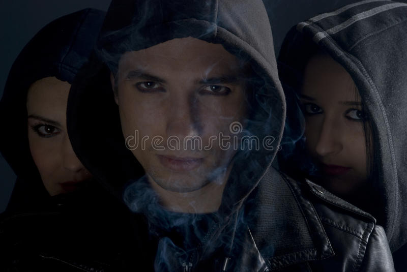 Download Urban People Street In Dark With Smoke Stock Photo - Image of adult, eyes: 12063684
