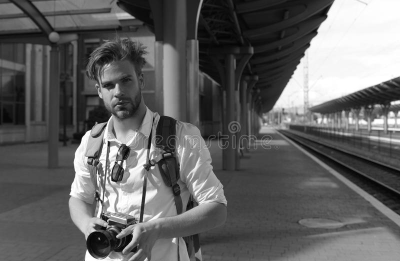 Urban photo and travelling concept. Tourist ready to take picture royalty free stock image