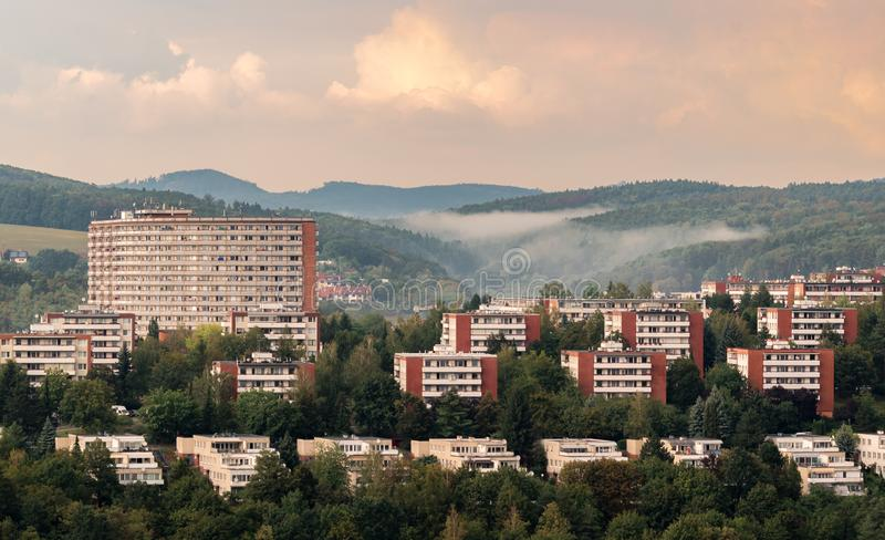 Residential buildings of inhabitans in the city Zlin, Czech Republic, Europe. Urban photography of typical residential buildings of inhabitans in the city Zlin stock photo