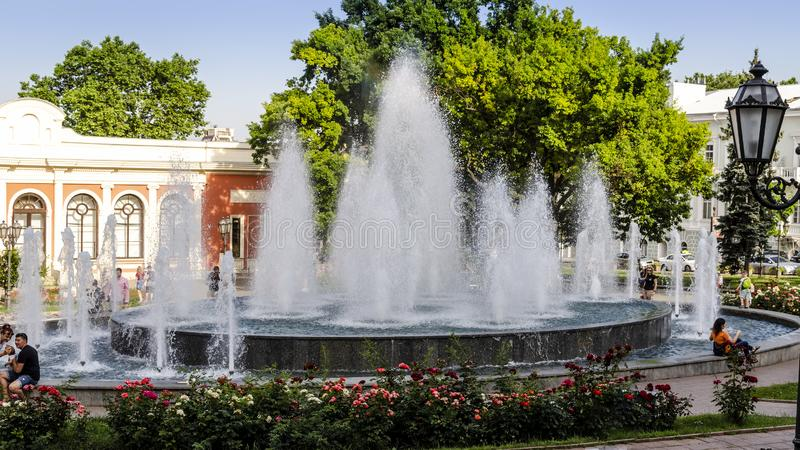 Urban public fountain at summer in Odessa, Ukraine royalty free stock images