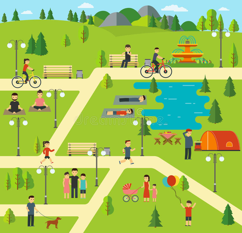 Urban public park, Camping in the park, picnic, biking, walking the dog in park, yoga sessions royalty free illustration