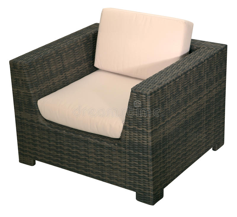 Urban rattan armchair. Isolated on a white background royalty free stock photos