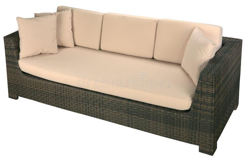 Urban rattan sofa. Isolated on a white background stock photos
