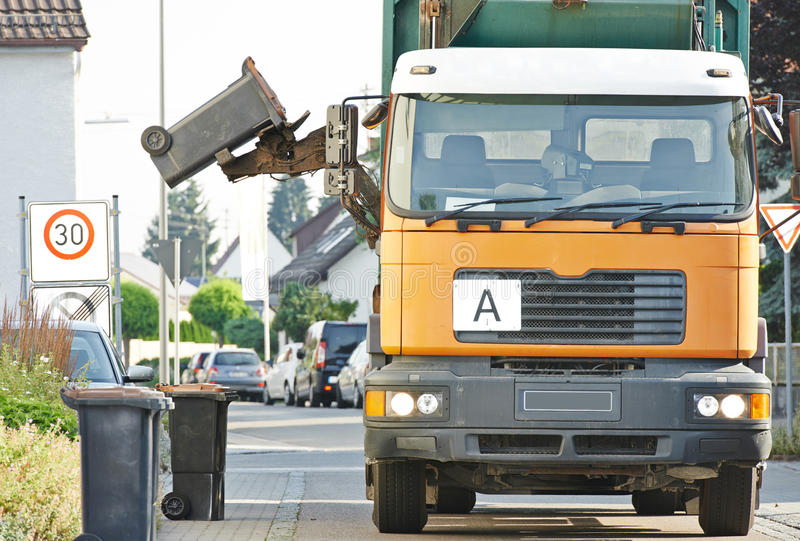 Urban recycling waste and garbage services stock image