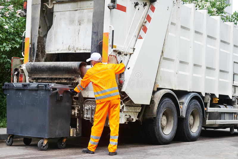 Urban recycling waste and garbage services stock photos