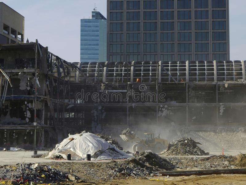 Download Urban Renewal: Excavator And Dusty Demolition Stock Image - Image: 23317175
