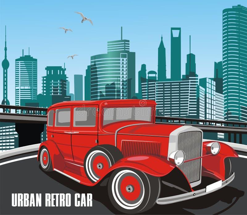 Urban retro bil i vektor på bakgrund av staden royaltyfri illustrationer