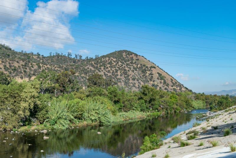Urban river landscape, Los Angeles, California, USA stock photography
