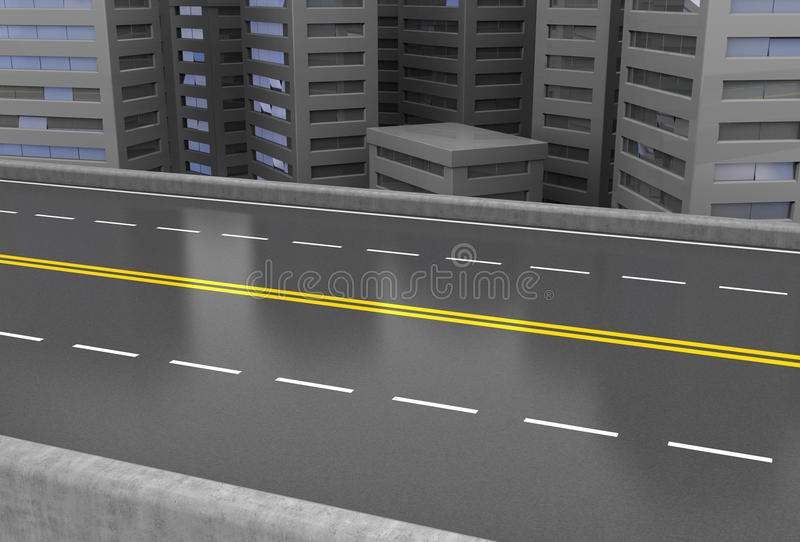 Urban road. Abstract 3d illustration of asphalt road and city vector illustration