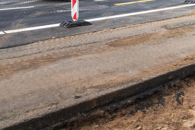 Urban road under construction. Urban road is under construction, industrial background royalty free stock image