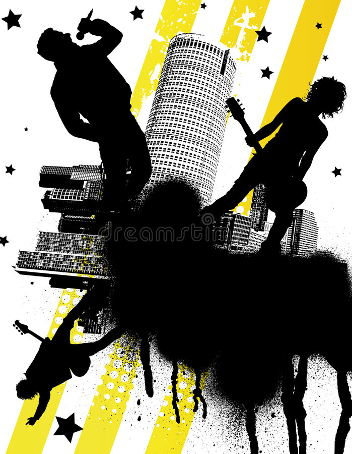 Download Urban Rock Band stock vector. Illustration of pink, painting - 5061711