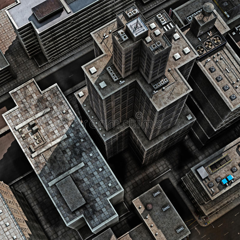 Urban Rooftops. Aerial view of a 3d City Render
