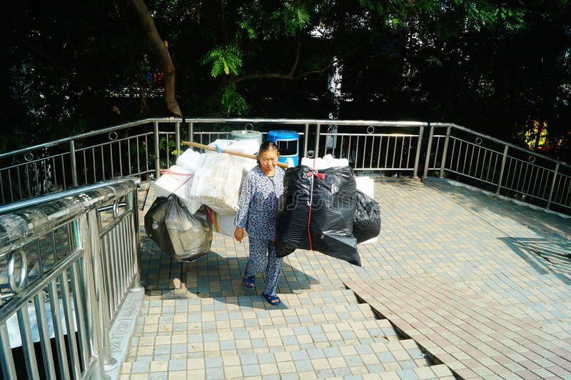 Urban scavengers. In Shenzhen, China stock images