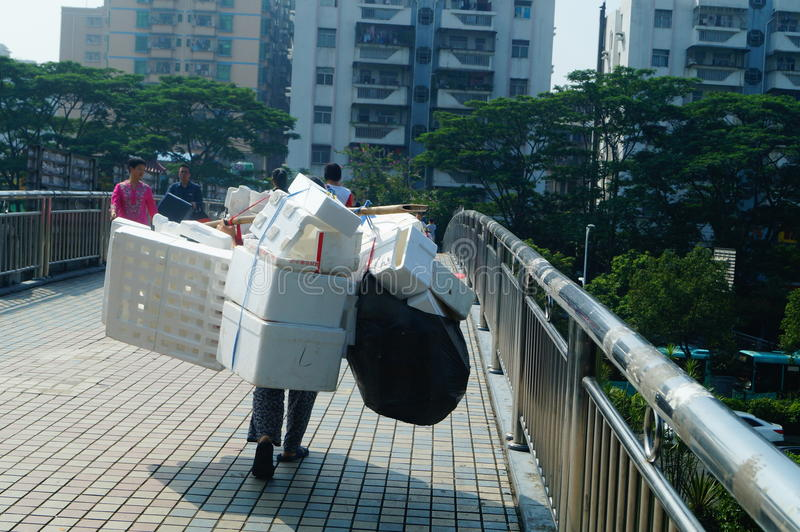 Urban scavengers. In Shenzhen, China stock image