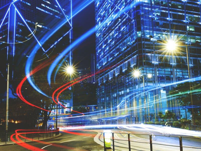Urban Scene of Hong Kong Night Light Concept stock images