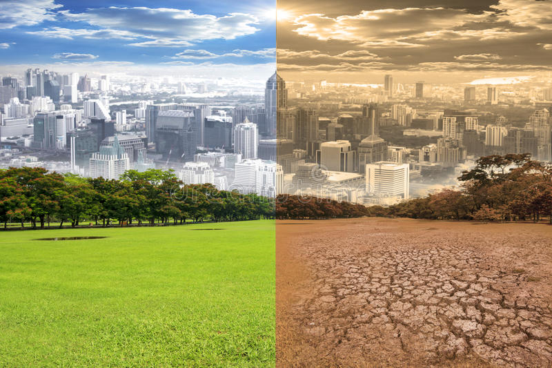 Urban scene showing the effect of environment climate change royalty free stock photo