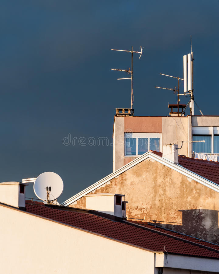 Urban scene view over the rooftops of buildings stock photos