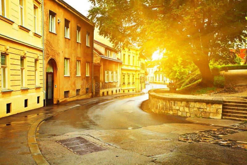 Urban scene in Zagreb. Croatia. View of street in Zagreb after rain. Croatia royalty free stock photos