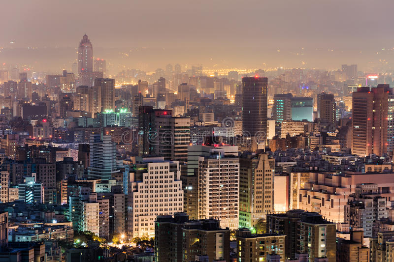 Urban scenery in night. Urban scenery with skyscrapers and apartments in night, Taipei, Taiwan stock images