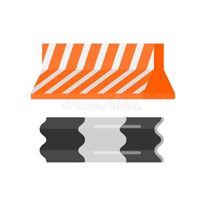Urban security striped elements movement direction and road fence set royalty free illustration