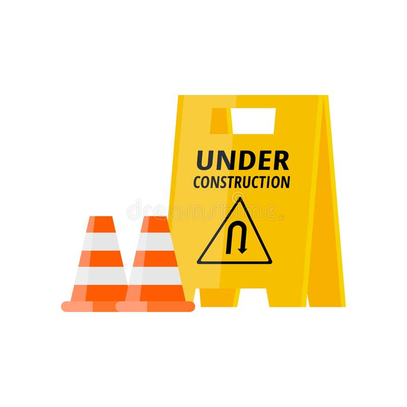 Urban security under construction road sign with two cones. Urban security under construction yellow road sign with two orange cones isolated on white. Road stock illustration