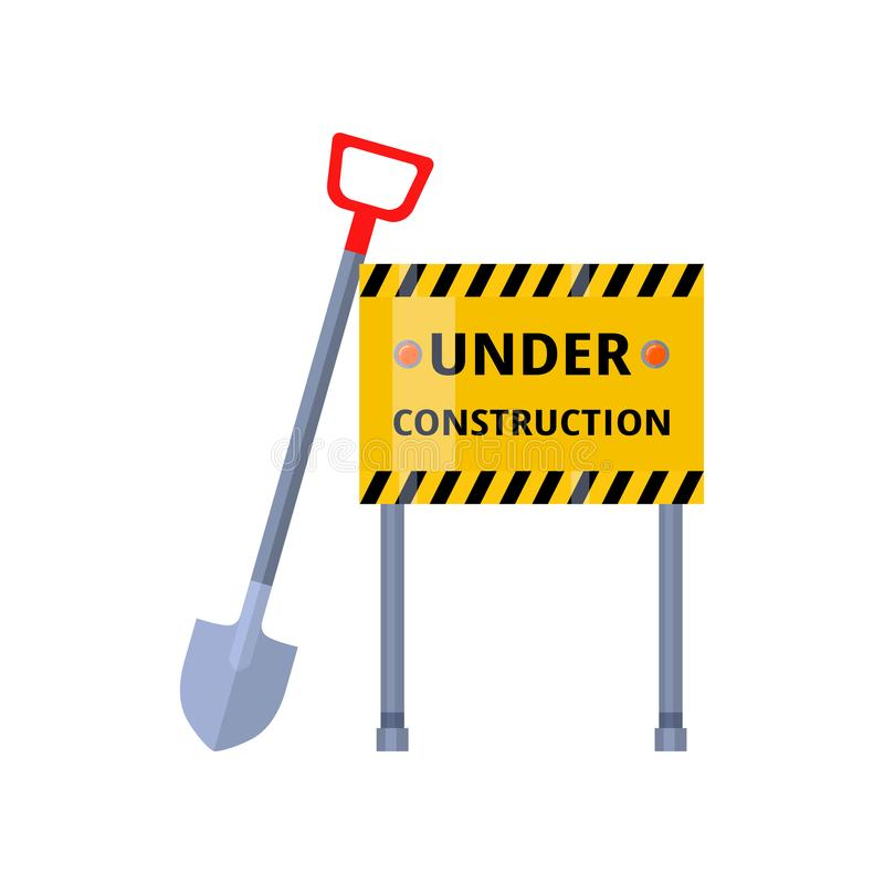Urban security under construction road sign with steel shovel on white. Urban security under construction yellow road sign on metal legs with steel shovel. Road stock illustration